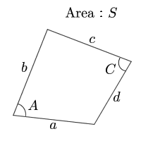 Quadrangle area(The four sides and the sum of the opposite angle)