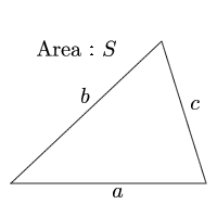Area of a triangle(The length of the three sides)