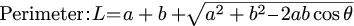 The formula that calculate the perimeter of the two sides and that angle
