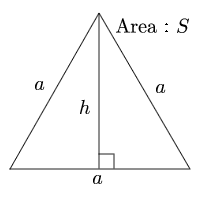 Side and area of equilateral triangle from height