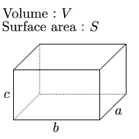 Length of one side of cuboid given surface area