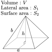 Volume of regular square pyramid given base and height