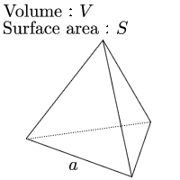 Calculate length of one side of tetrahedron given surface area